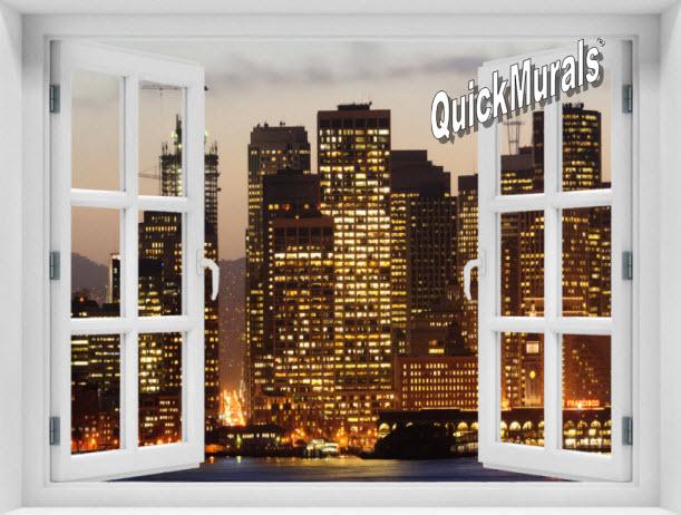 San Francisco Skyline (Color) #1 Window 1-Piece Peel & Stick Mural