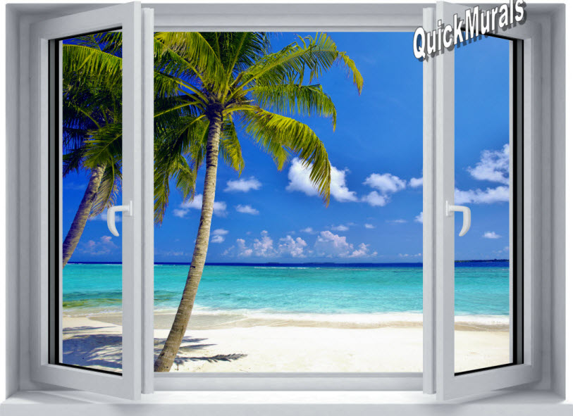 Ocean Wall Mural tropical ocean window 1-piece canvas peel & stick wall mural