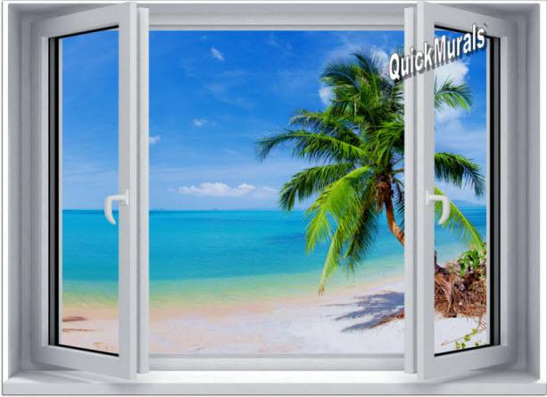 Tropical Beach Window #2 One-Piece Canvas Peel & Stick