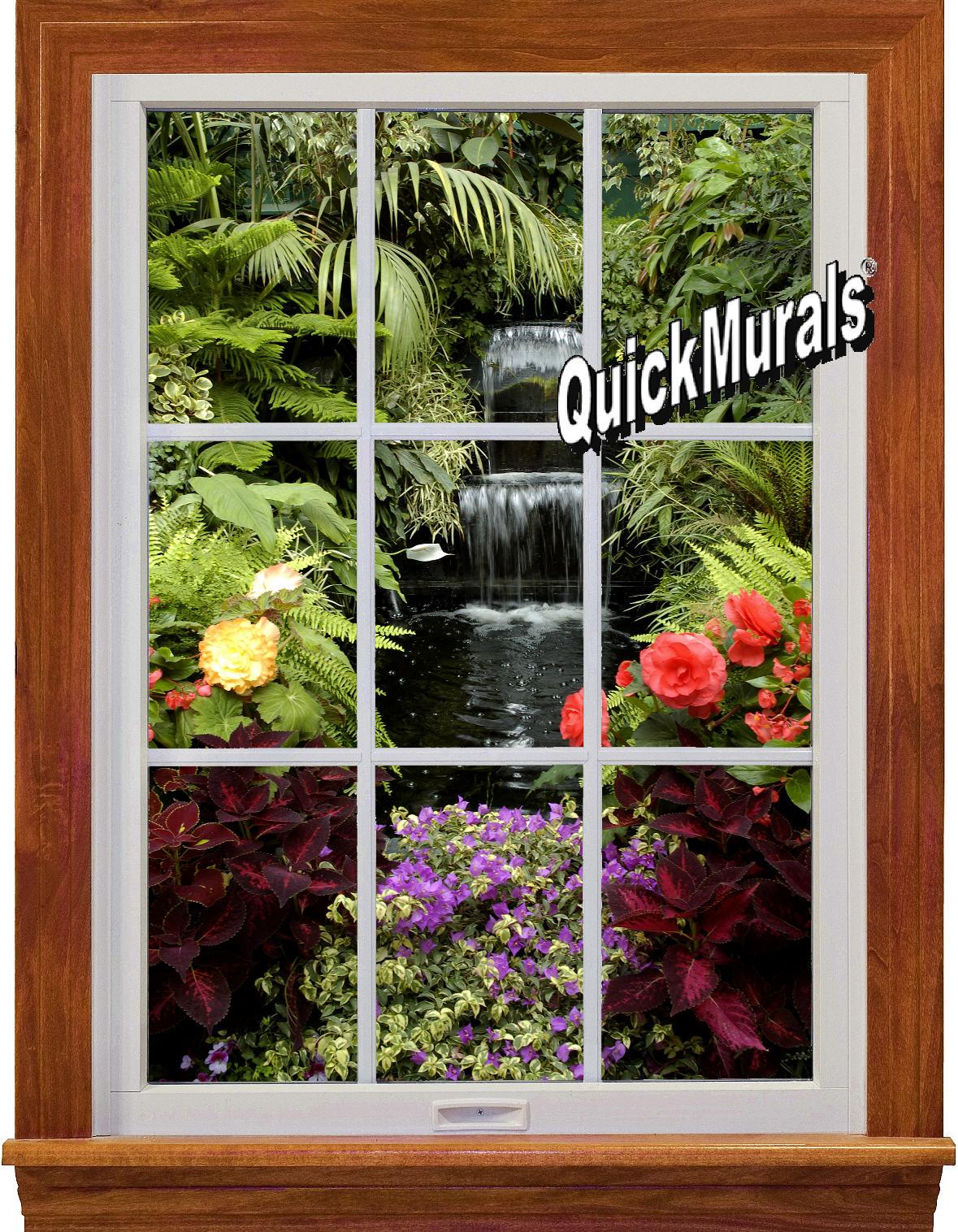 garden waterfall window 1 piece peel stick wall mural