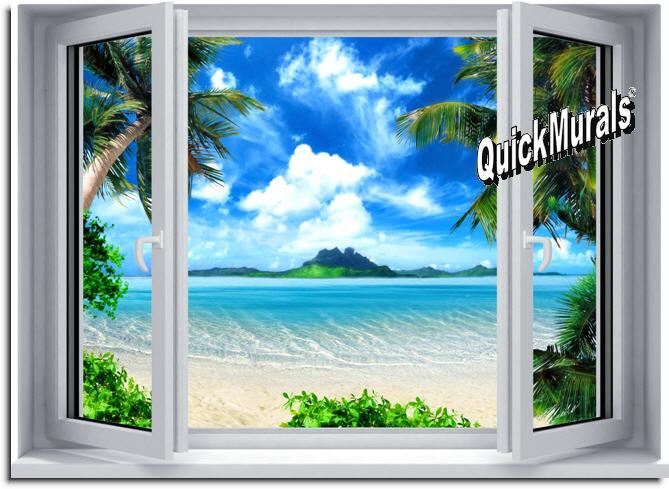 Tropical Paradise Window 1 Piece Peel Stick Wall Mural