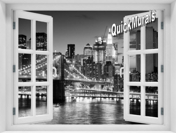 Accent window murals for Brooklyn bridge black and white wall mural