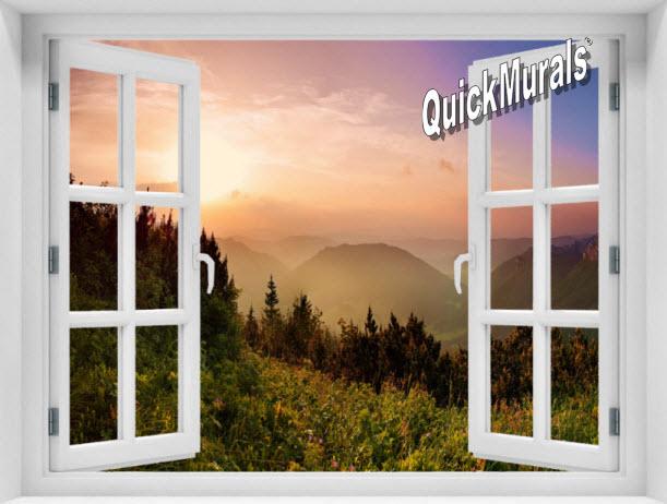 Mountain Sunrise #1 Window 1-Piece Peel & Stick Mural