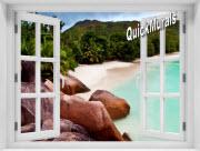 Barbados Island Window 1-Piece Peel & Stick Mural