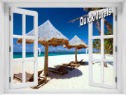 Beach Chairs Window 1-Piece Peel & Stick Mural