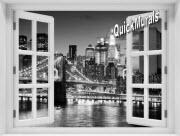 Brooklyn Bridge Black and White Window 1-Piece Peel & Stick Mural