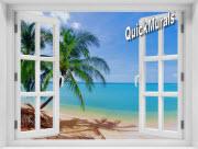 Coconut Beach Window #1 One Piece Peel & Stick Mural