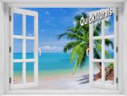 Coconut Beach Window #2 One Piece Peel & Stick Mural