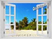Island Getaway Window 1-Piece Peel & Stick Mural
