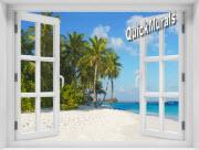 Island Vacation Window 1-Piece Peel & Stick Mural