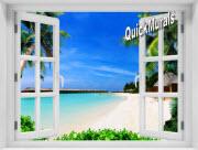 Mauai Beach Window 1-Piece Peel & Stick Mural