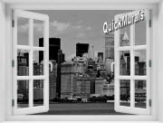 New York City Black and White #1 Window 1-Piece Peel & Stick Mural