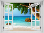 Secluded Beach Window 1-Piece Peel & Stick Mural