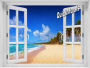 Seychelles Island Window 1-Piece Peel & Stick Mural