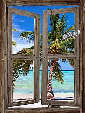 Beach Cabin Window Mural #5