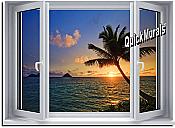 Sunset Palm Window 1-Piece Peel & Stick Wall Mural