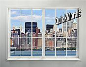 New York City Skyline Window # 1 Peel & Stick (1 piece) Wall Mural
