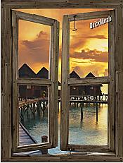 Beach Resort Sunset Window Peel & Stick (1 piece) Canvas Wall Mural