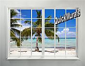 Palm Beach Window Peel and Stick 1-piece Wall Mural