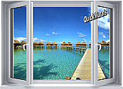Maldives Resort Window 1-Piece Peel & Stick Wall Mural