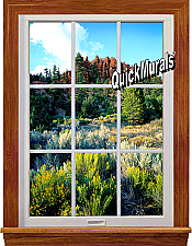 Floral Canyon Window 1-Piece Peel & Stick Wall Mural