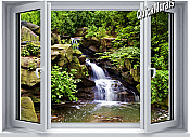 Mountain Waterfall Window 1-Piece Canvas Peel & Stick Wall Mural