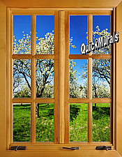 Apple Blossom Window #2 (closed) 1-Piece Peel & Stick Wall Mural