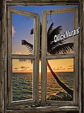 Beach Cabin Window Mural #6