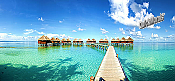 Maldives Beach Resort Panoramic Peel And Stick Wall Mural
