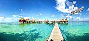 Maldives Beach Resort Panoramic Peel And Stick Wall Mural