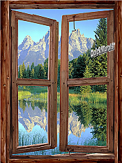 Mountain Cabin Window Mural #1