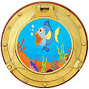 Cartoon Porthole #1 Wall Mural