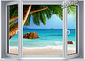 Secluded Beach Window 1-Piece Canvas Peel & Stick Wall Mural