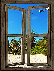 Beach Cabin Window Mural #13