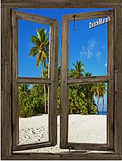 Beach Cabin Window Mural #10
