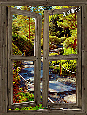 Stone Path Cabin Window 1-piece Peel & Stick Canvas Wall Mural