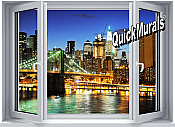 Brooklyn Bridge (color) Window One-Piece Canvas Peel & Stick Wall Mural