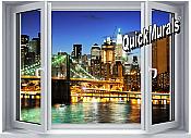 Brooklyn Bridge (color) Window One-Piece Canvas Peel & Stick Wall Mural
