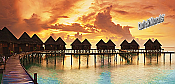 Tiki Resort Sunset Panoramic Peel And Stick Wall Mural