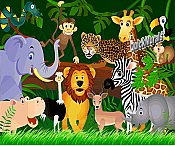 Jungle Friends Peel and Stick Wall Mural