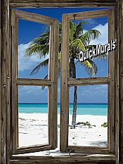 Beach Cabin Window Mural #2