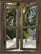 Beach Cabin Window Mural #11