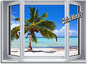 Palm View Window 1-Piece Peel & Stick Wall Mural
