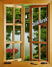 Japanese Garden Window 1-Piece Peel & Stick Wall Mural