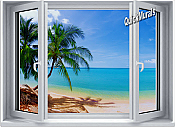 Tropical Palm Window #1 One-Piece Canvas Peel & Stick Wall Mural