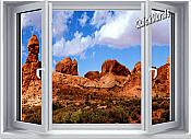 Desert Canyon Window 1-Piece Canvas Peel & Stick Wall Mural