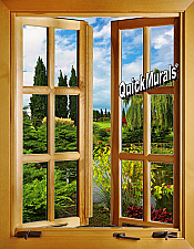 Lago De Jardin Window 1-Piece Peel & Stick Wall Mural