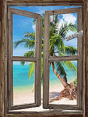 Beach Cabin Window Mural #4