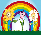 Rainbow Flowers Peel & Stick Wall Mural