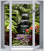 Floral Waterfall Window 1-Piece Peel & Stick Wall Mural